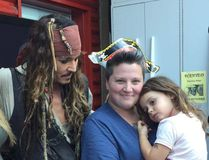 Actor Johnny Depp, in character as Capt. Jack Sparrow of the Pirates of the Caribbean movies, visits the BC Children's Hospital on Monday to help lift the spirits of the children there, including Harlow Montroy, 3, being held by her mother, Amanda, a longtime Kingston resident who now lives in Chilliwack, B.C. To the left of Depp is Jenna Montroy, Harlow's other mother. (Submitted Photo)