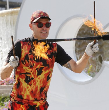 The Fire Guy, Paul Schuster, shows off his stuff at the media preview for the 139th annual Canadian National Exhibition on Wednesday August 16, 2017. (Michael Peake/Toronto Sun)