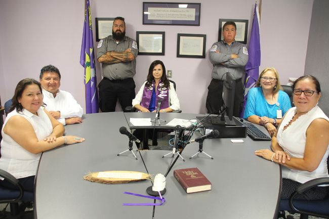 <p>Prosecutor Bonnie Cole, left, court administrator Gilbert Terrance Jr., Justice D. Darlene Frances, compliance officers Lelean Chute and Cullen Jacobs, clerk Kim Loran and justice director Joyce King sit around the table inside the Akwesasne Court during a open house to mark the one-year anniversary of the comming-into-force of its community's unique court law on Wednesday August 16, 2017 in Akwesase, Ont.</p><p>