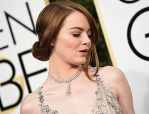 Emma Stone arrives at the 74th annual Golden Globe Awards, Jan. 8, 2017, at the Beverly Hilton Hotel in Beverly Hills, Calif. (VALERIE MACON/AFP/Getty Images)