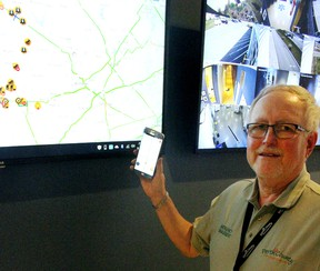 Dave Colvin, Perth County's emergency management co-ordinator, shows off the new interactive map-based system that will soon notify first responders and other users of local road closures and other delays. Perth County is the first southwestern Ontario municipality to adopt the innovative approach.