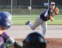 North Bay Midget Stingers pitcher Kyle Backer, above, went 5.3 innings for the win and Burke Houle got a four out save to edge The Moose Cookhouse 4-3 in North Bay Senior Baseball League semifinal action at the Steve Omischl Sports Fields Complex, Wednesday. Dave Dale / The Nugget