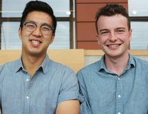 Mero Technologies co-founders Nathan Mah (left) and Cole MacDonald in Goodes Hall at Queen's University. The 23 and 20-year-olds will be heading to the Canadian National Exhibition (CNE) to compete in the Emerging Innovators Pitch Competition on Aug 19-20. Steph Crosier/Kingston Whig-Standard/Postmedia Network