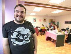 Christian Pelletier, Up Here co-founder and director, takes a quick break Thursday during preparations for the three-day urban art and music festival, which kicks off downtown on Friday. Gino Donato/The Sudbury Star/Postmedia Network