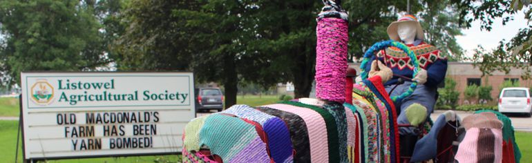 The Listowel Agricultural Society's Yarn Bomb display is seen here on Thursday, Aug. 17, 2017 in Listowel, Ont. The annual event has returned to the town until Aug. 26. (Terry Bridge/Stratford Beacon Herald/Postmedia Network)