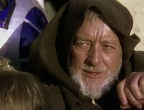 "Alec Guinness as Obi-Wan Kenobi in ""Star Wars."""