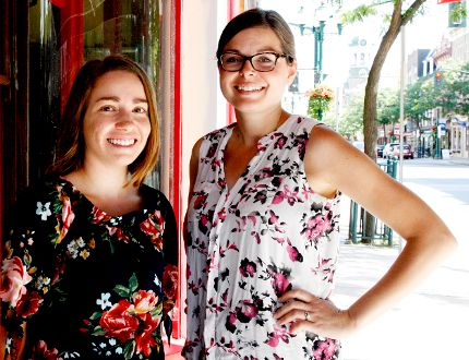 Hillary Geneau, left, Downtown Brockvile's events and communications coordinator, and executive director Meg Plooy are pictured by the soon-to-open Golden Age Comics and Collectibles store on King Street West on Thursday. (RONALD ZAJAC/The Recorder and Times)