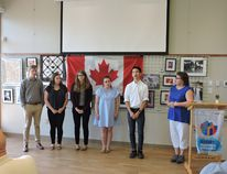 (L-R) Brennan Shepherd, Cecilia MacDonald, Kayla Huxter, Emily Jensen and Thomas Head. At the far right is Edson Rotarian Lorraine Symes. (Ed Moore)
