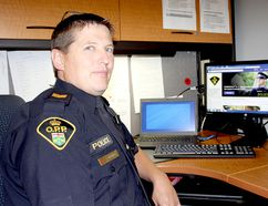 Chatham-Kent OPP Const. Jay Denorer is urging people to think before they post photos and videos of collisions on social media. (Trevor Terfloth/The Daily News)