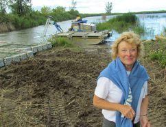 Nancy Vidler, with the Lambton Shore Phragmites Community Group, stands Friday Aug. 18, 2017 next to a wetland on Lake Huron in Lambton Shores where equipment has been working this past week to battle the invasive reed. (Paul Morden/Sarnia Observer)