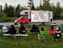A Wapikoni Cinema on Wheels film screening in Anicinabe Park, Kenora, on July 13. Cinema on Wheels will be in Kingston on Sunday at the Isabel Bader Centre for the Performing Arts. (Submitted photo)
