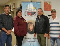 Organizers still had high hopes for fundraising efforts after the 24th annual Wabun Tribal Council Audrey Allaire Memorial Golf Tournament was rained out on Friday. From left are Mattagami First Nation Chief Chad Boissoneau, organizer Linda Keay, Wabun Tribal Council executive director Jason Batise and Flying Post First Nation Chief Murray Ray.