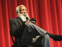 In this Jan. 20, 2016 file photo, long time civil rights activist, writer, social critic, and comedian Dick Gregory, talks to the crowd at the 16th annual Tampa Bay Black Heritage Festival, MLK Leadership Luncheon, at the University Area Community Development Center, in Tampa, Fla. (Scott Keeler /Tampa Bay Times via AP)