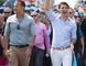 Prime Minister Justin Trudeau (centre), Irish Taoiseach Leo Varadkar (left) and Montreal Mayor Denis Coderre take part in the annual pride parade in Montreal on Sunday, Aug. 20, 2017. (Graham Hughes/The Canadian Press)