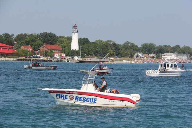 Police, fire and Coast Guard agencies from both sides of the St. Clair River were out in force Sunday Aug. 20, 2017 for the start of this year's float down. (PAUL MORDEN, The Observer)
