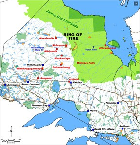 Ring of Fire map showing the mining area in relation to the rest of Northern Ontario. (Noront Resources)
