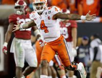 Deshaun Watson #4 of the Clemson Tigers celebrates after throwing a 2-yard game-winning touchdown pass during the 2017 College Football Playoff National Championship Game on January 9, 2017. (Streeter Lecka/Getty Images)