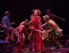 Seana McKenna (centre) as Aurélie, The Madwoman of Chaillot, with members of the company in The Madwoman of Chaillot. (Cylla von Tiedemann/Stratford Festival)