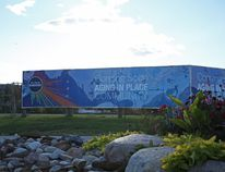 The large sign promoting an aging in place facility, what would have been Willow Square, sits vacant more than three years since the sign was erected on the corner of Franklin Ave. and Hospital Street in Fort McMurray Alta., September 27, 2016. Olivia Condon/ Fort McMurray Today/ Postmedia Network