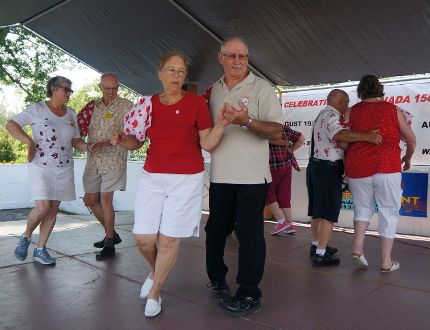 The Swinging B's of Cornwall square dance on stage on Sunday in St. Andrews West. Rachel Faber/Cornwall Standard-Freeholder