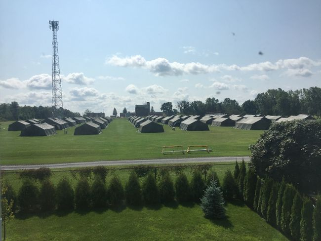 The tents being put up at Nav Centre. Robert Lefebvre/Special to the Cornwall Standard-Freeholder