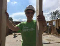 "NG20170812HO001 Rachel Mathias was on site for the ""wall raising"" at her Habitat for Humanity home on August 12. The Mathias family, who will own the home in Roblin, must put in 500 hours of sweat equity as part of their agreement with Habitat before taking on the mortgage. SUPPLIED PHOTO/HABITAT KINGSTON"
