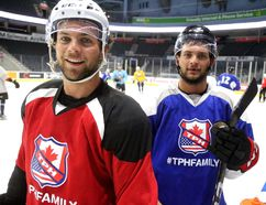 Ryan and Matt Rupert were at Budweiser Gardens for a preseason practice with NHLers at Budweiser Gardens in London, Ont. on Thursday August 24, 2017. (MIKE HENSEN, The London Free Press)