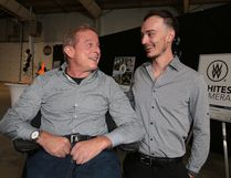 Paul Bronfman, chairman/CEO of William F. White International Inc., chats with Josh Desormeaux of Whites Sudbury at a special reception at the Northern Ontario Film Studios celebrating Sudbury's content creators and homegrown productions in Sudbury, Ont. on Thursday August 24, 2017. Gino Donato/Sudbury Star/Postmedia Network