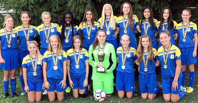 The Sarnia Spirit are under-13 girls' champions in the Elgin Middlesex District Soccer League. Team members are, front row, left: Emily Kzyonsek, Savanah VanHooft, Madison Tuer, Ryann Turner, Lauren Jackson, Paige Vidler and Avah Tsaprailis. Back row: Sophia Kember, Tala Snauwaert, Sarah Gardner, Koko Okutinyang, Adriana Netskos, Ainsley Mackenzie, Ali McLellan, Arianna Satram, Gemma Hazzard and Lulu Owen. (Contributed Photo)