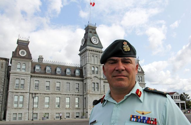 Brig.-Gen. Sebastien Bouchard, the new commandant of Royal Military College, at the college on Friday. (Steph Crosier/The Whig-Standard)