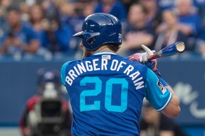 Blue Jays' Josh Donaldson was made the designated hitter last night to rest him from the heavy field workload. (The Canadian Press)