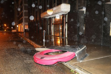 Debris is seen on the sidewalk during the passing of Hurricane Harvey on Aug. 26, 2017 in Corpus Christi, Texas. (Joe Raedle/Getty Images)
