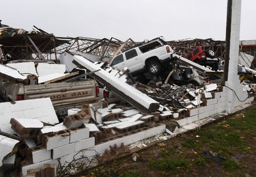 A destroyed building and vehicles at Rockport Airport after heavy damage when Hurricane Harvey hit Rockport, Texas, on Aug. 26, 2017. (MARK RALSTON/AFP/Getty Images)