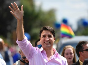 Prime Minister Justin Trudeau marches in the Ottawa Capital Pride parade, Sunday, August 27, 2017. THE CANADIAN PRESS/Justin Tang