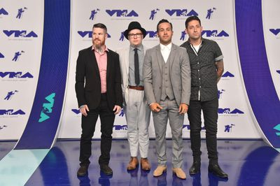 (L-R) Andy Hurley, Patrick Stump, Pete Wentz and Joe Trohman of Fall Out Boy attend the 2017 MTV Video Music Awards at The Forum on August 27, 2017 in Inglewood, California.  (Photo by Frazer Harrison/Getty Images)