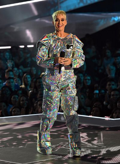 Host Katy Perry speaks onstage during the 2017 MTV Video Music Awards at The Forum on August 27, 2017 in Inglewood, California.  (Photo by Kevin Winter/Getty Images)