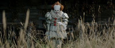 "Bill Skarsgard as Pennywise in New Line Cinema's horror thriller ""IT,"" a Warner Bros. Pictures release. (Courtesy of Warner Bros.)"