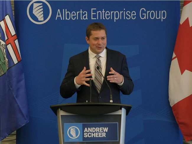 Andrew Scheer, leader of the Conservative Party of Canada, speaks at the Alberta Enterprise Group luncheon in Edmonton, Alta. on August 28, 2017. Larry Wong/Postmedia Network