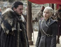 "This image released by HBO shows Kit Harington, left, and Emilia Clarke on the season finale of ""Game of Thrones."" The series set yet another audience record Sunday with its seventh-season finale. Nielsen says an all-time high of 12.1 million viewers were tuned in to the wildly popular fantasy drama. An additional 4 million caught the episode on streaming channels. (Macall B. Polay/HBO via AP)"