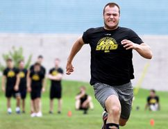 Hugo Leufvenius runs the 40-yard dash during the Sarnia Sting's fitness testing outside Progressive Auto Sales Arena on the first day of training camp Monday, Aug. 28, 2017. (MARK MALONE/Postmedia Network)