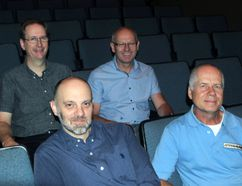 The Routes to Roots Film Festival will kick off at the Simcoe Strand Theatre Oct. 21-22. Pictured (back row), co-founder and Strand owner Kent Rapley (left), co-founder Mike McArthur along with (front row) co-curator Michael Chwastiak (left) and chair Jim Carroll. (JACOB ROBINSON/Simcoe Reformer)