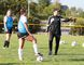 Cambrian College Golden Shield soccer head coach Giuseppe Politi explains a drill to players during training camp in Sudbury, Ont. on Thursday August 24, 2017. Gino Donato/Sudbury Star/Postmedia Network