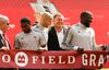 TFC player Michael Bradley and former MLSE CEO Tim Leiweke share a laugh as TFC held its official grand opening of BMO Field in preparation for their 2015 home opener vs, the Houston Dynamo in Toronto, Ont. on Friday May 8, 2015. Jack Boland/Toronto Sun/Postmedia Network