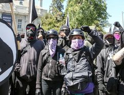 Antifa members and counter protesters gather during a right-wing No-To-Marxism rally on Aug. 27, 2017 at Martin Luther King Jr. Park in Berkeley, Calif. (GETTY IMAGES/PHOTO)