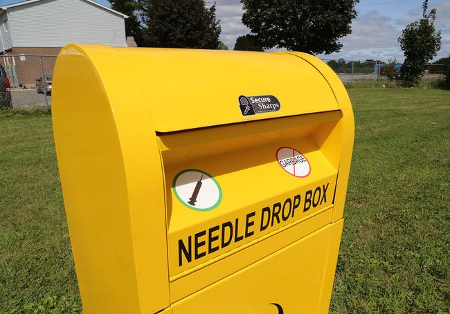 A sharps disposal kiosk in Headway Park off of Wilson Street in Kingston.  (Ian MacAlpine/The Whig-Standard)
