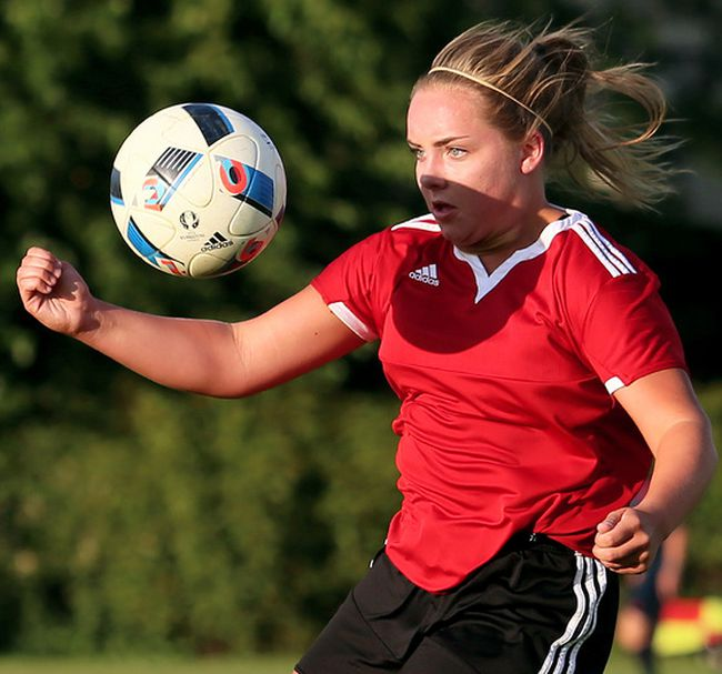 Kate Brady plays for the Chatham Eagles in a 5-1 win over Byron United in the Premier Division of the London & Area Women's Soccer League at St. Clair College's Thames Campus on Thursday, Aug. 31, 2017. (MARK MALONE/The Daily News)