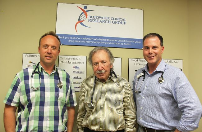 Doctors John O'Mahoney, Michael O'Mahoney and Sean Peterson are the principal investigators at the Bluewater Clinical Research Group in Sarnia. They're enrolling for a clinical trial involving a skin-embedded device for type 2 diabetes. (file photo)