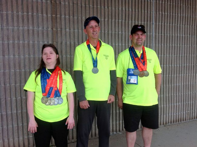 Local athletes Rachel Belfour (left), Brian Dinwoodie (middle) and Jeff Shand (right) brought home a slew of medals from the 2017 Special Olympics Provincial Summer Games held in the Peel Region this past July.