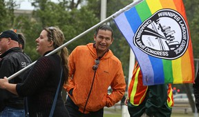 Provincial NDP leadership hopeful Wab Kinew prior to the start of the Winnipeg Labour Day march from Memorial Park on Mon., Sept. 4, 2017. Kevin King/Winnipeg Sun/Postmedia Network