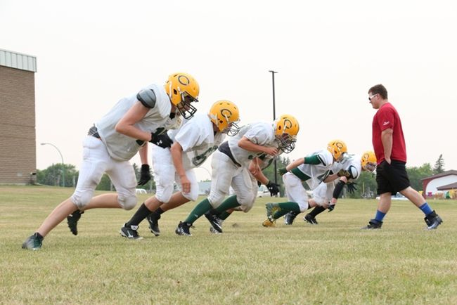 Melfort Comets' football  defensive linemen went through their paces on Wednesday, August 30 at MUCC Field.